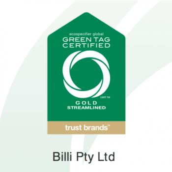 Billi Green Tag Cerrtificate